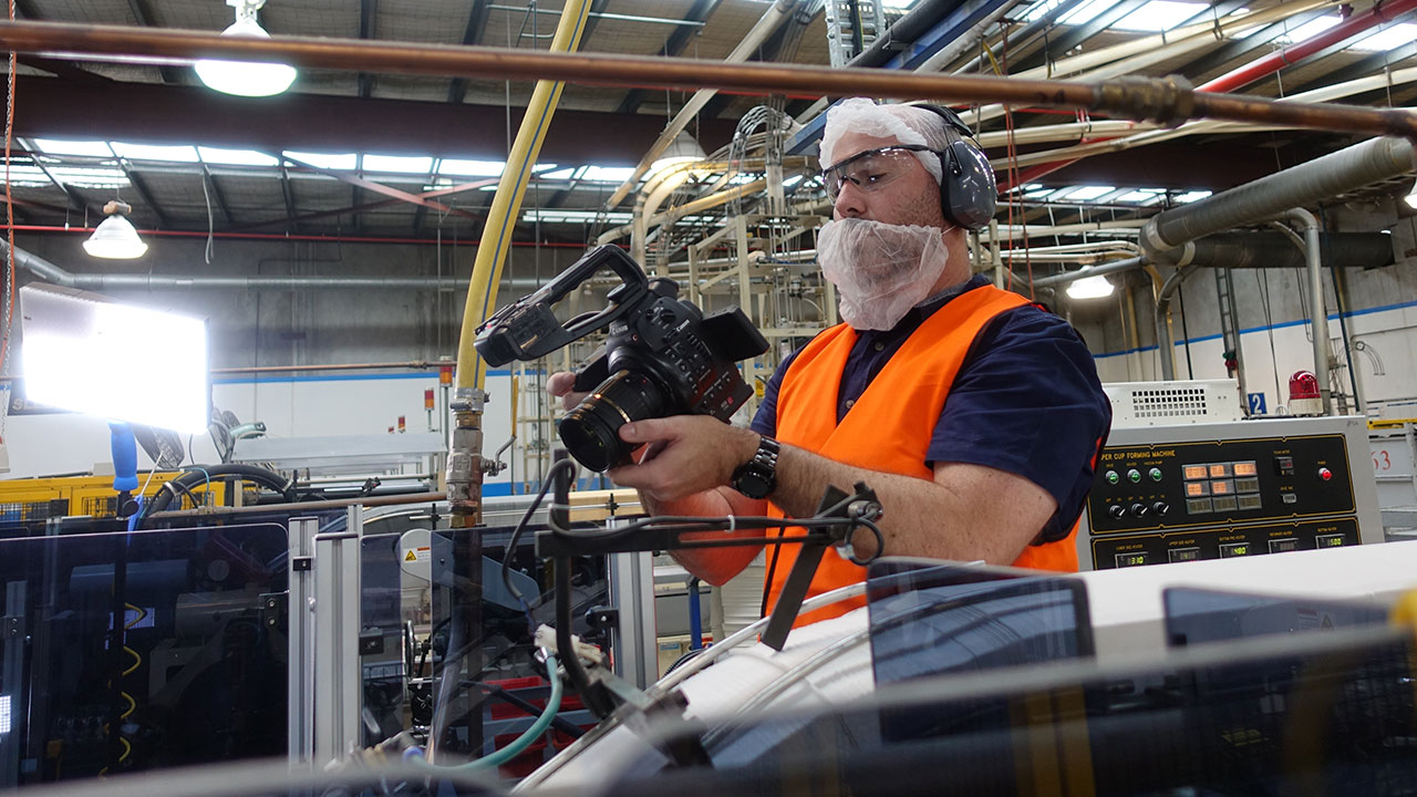 Justin Films Footage For Interesting Product Promotional Video At Oji Paper Cup Factory